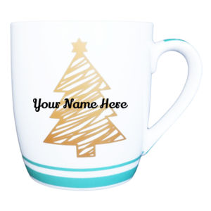 Custom Name Green Christmas Tree Mug  Thumbnail