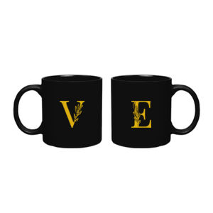 Couple Etched Leaf Monogram Mugs Thumbnail