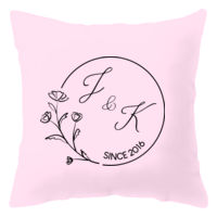 Floral Wreath Couples' Initial Pillow Thumbnail