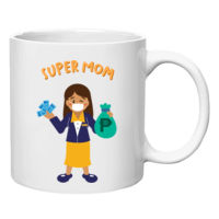 Super Mom Banker White Mug Full Body (Dark) Thumbnail